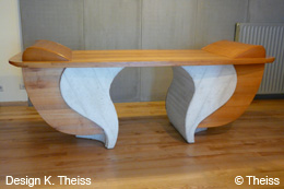 Furniture in cherry wood and concrete - desk